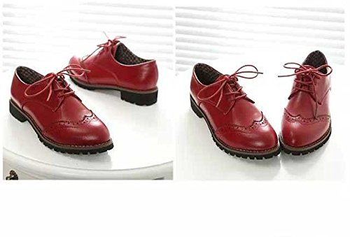 Gaorui Women Oxford Shoe Brogue Lace up PU Leather Matt Red r4lE8A