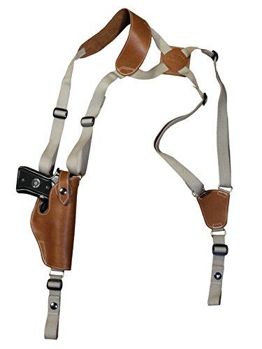 Barsony New Saddle Tan Leather Vertical Shoulder Holster for Glock 17 20 21 22 24 25 Left