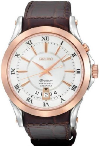 Premier White Dial (Seiko SNQ126 Mens Premier Perpetual Calendar Rose Gold Tone Case White Dial Brown Leather Strap Date Display Watch)