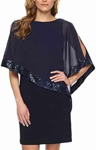 b032af0e YYear Womens Club Batwing Sleeve Sequins Bodycon Casual Crewneck Mini Dress