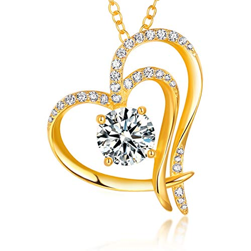 Trensygo 14k Gold Plated Heart Necklace for Women Girls 925 Sterling Silver 5a Cubic Zirconia Love Diamond Accent -