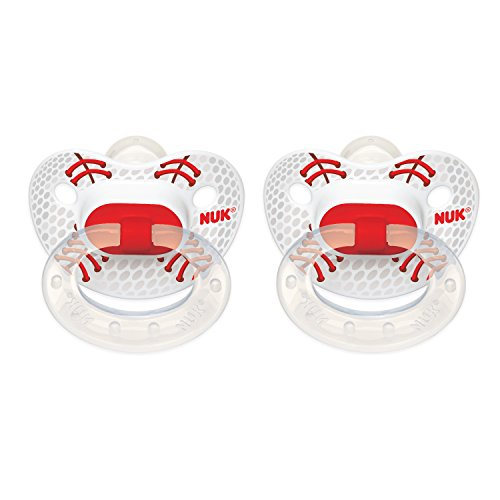 Football Pacifier (NUK Sports Orthodontic Pacifiers Silicone Assorted Colors and Styles 6+m 2 Each)