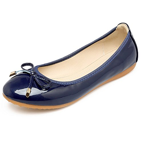 Meeshine Womens Foldable Bow Slip On Ballet Flats Dress Shoes(7 B(M) US,Navy Blue) Navy Ladies Shoes