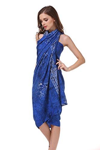ManuMar Pareo de mujer | Pareo toalla de playa | Pareo ligero con flecos-borlas, diferentes tamaños, diseños y colores Dunkel-azul Delfin mediano