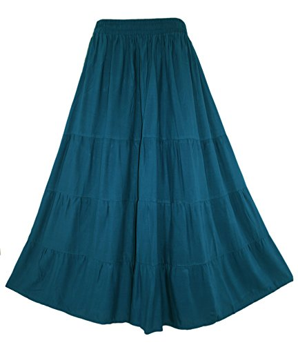 Beautybatik Teal Blue Boho Gypsy Long Maxi Tiered Skirt 1X ()