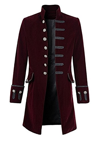 Suxiaoxi Steampunk Clothing for Men Stylish Velvet Long Jackets Black Formal Gothic Victorian -