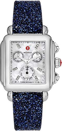 Michele Deco Day Diamond Women's Luxury Watch w/Midnight Navy Crystal Strap MWW06P000014