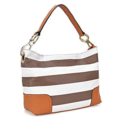 Classic Women Hobo Shoulder Bag Ladies Tote Purses Handbag with Big Snap Hook (Large-Brown and White)