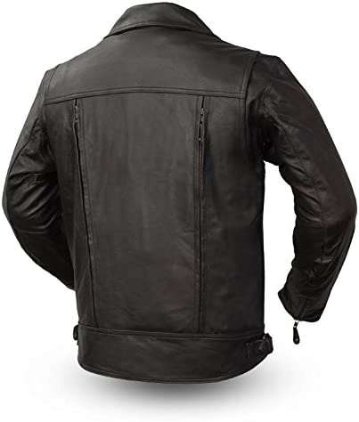 Black, 3X-Large Mens Mastermind Motorcycle Style Leather Jacket