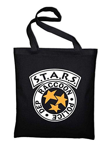 Jute Styletex23bagraccoon2 Royal Police Blue Raccoon Department Bag Tasche Black Cotton Fabric blue Logo And In Stars Bag XpgZwq