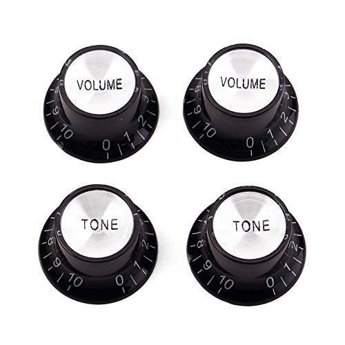 dezirZJjx Guitar Parts & Accessories, 4Pcs Top Hat Knobs, Electric Guitar Bass Control Top Hat Knob Volume Tone Replacement Parts Black