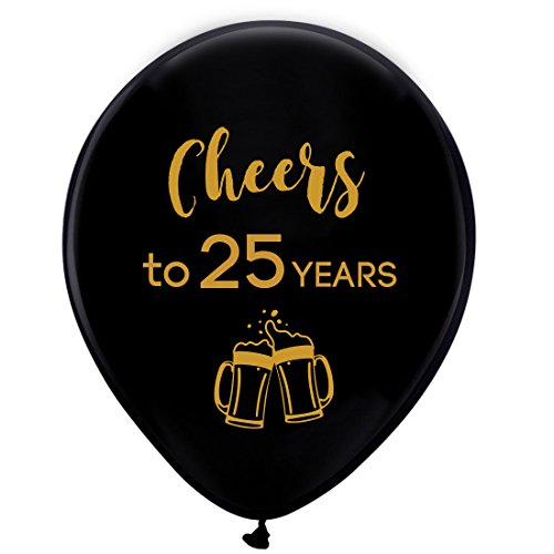 Black cheers to 25 years latex balloons, 12inch (16pcs) 25th birthday decorations party supplies for man and woman ()
