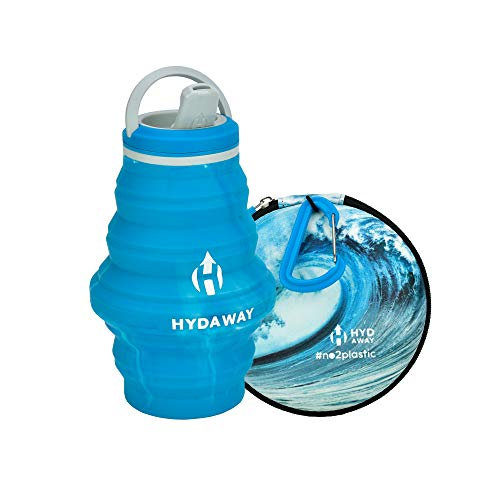HYDAWAY NO2PLASTIC Hydration Travel Pack | Limited Edition 17oz Collapsible Water Bottle with Spout Lid and Compact Travel Case with Carry Clip (17oz, Ocean Wave) ()