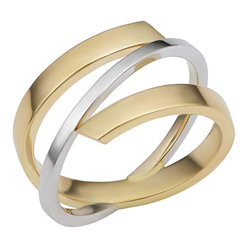 Kooljewelry 10k Two-Tone Gold High Polish Stylish Bypass Ring (Size 9)
