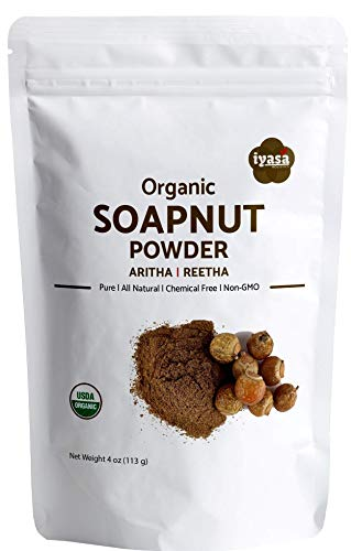 Organic Soap nut Powder| 4 oz l Aritha|Reetha|Sapindus Mukorossi| Natural Skin & Hair Cleanser|Shampoo & Conditioner | Laundry| Dish Detergent, Households Cleaner I Trial Pack of 4 Oz/112 Gm