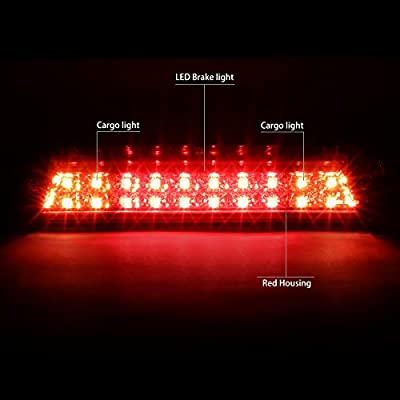 Red Housing Dual Row LED 3rd Third Tail Brake Lights Lamp Replacement for GMC Sierra Chevy Silverado 14-18: Automotive