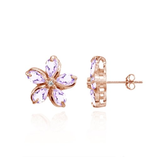 Rose Gold Flashed Sterling Silver Amethyst Polished Flower Stud Earrings