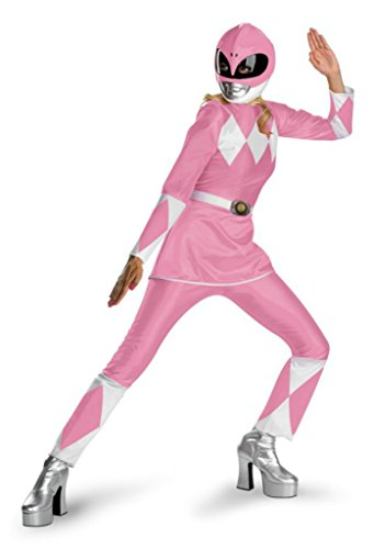 [Disguise Womens Mighty Morphin Power Rangers Pink Dress Fancy Halloween Costume, L (12-14)] (Power Ranger Costume Female)