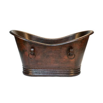 60 in. Hammered Copper Double Slipper Bathtub With Rings