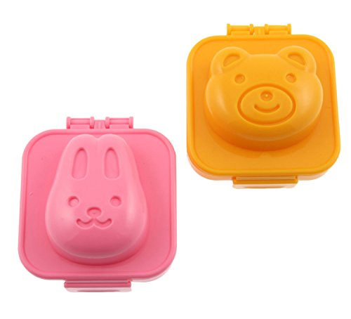 Fashionclubs Plastic Egg Sushi Rice Cutter Mold,Cute Bear And Rabbit For Kids
