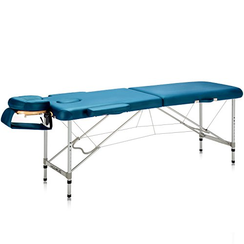 "DR.LOMILOMI Ultra-light Travel-sized Aluminum Portable Massage Table Spa Bed 302 (W22"" X L71"", Teal green)"
