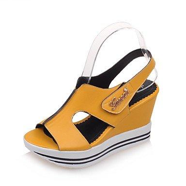 LFNLYX Las mujeres sandalias de verano enredaderas comodidad del Tobillo PU Office & Carrera atléticos casual tacón cuña de gancho y bucle negro azul amarillo blanco Blue