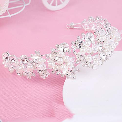 Western Wedding Hair Accessories Handmade Silver Jewelry Crystal Pearls Grapes Flowers Crown Tiara Diadem Headdress Bride Bridesmaid Crown Bride Baroque ()