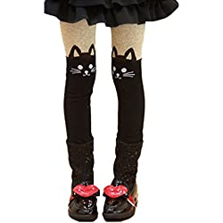DreamHigh Girl's Black Cat Hosiery Long Cotton Overall Bottom Tights Size L