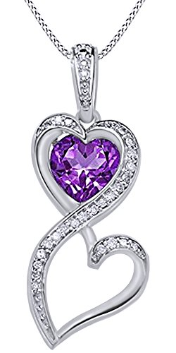 Simulated Amethyst & Natural Diamond Heart Infinity Pendant 14K White Gold Over Sterling Silver (0.1 (0.1 Ct Diamond Bezel)