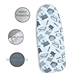 "Duwee 12""x32"" Heat Resistance Metallic Table Top Ironing Board Cover Durable Thicken Felt Material Padding, With Elastic Cord, Easy to Handle and Fits Board Beautifully for Back To School (Iron pattern)"