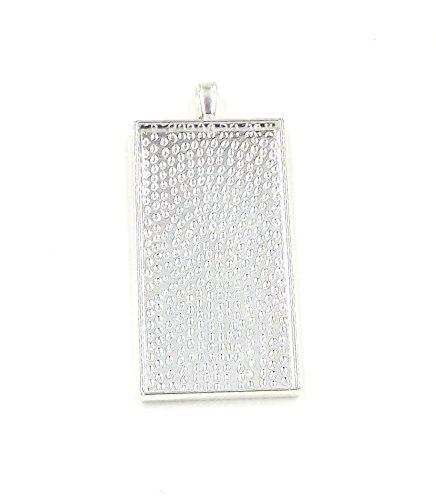 - 20 Rectangle Pendant Trays - Silver Color - 25X50mm - Pendant Blanks Cameo Bezel Settings Photo Jewelry - Custom Jewelry Making Deannassupplyshop
