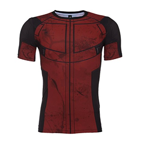 Horries Mens Short Sleeve Cosplay (Deadpool Costume Shirt)