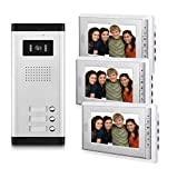 AMOCAM 3 Household Apartment Video Door Phone System, Wired Video Intercom Kit, 1 PCS Night Vision Camera, 3 PCS LCD 7 inch Monitor, Support Monitoring, Unlock, Dual Way intercom, Can See Hear