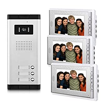 Image of AMOCAM 3 Units Apartment Video Intercom System, Wired Video Door Phone Kit, 1 PCS Night Vision Camera, 3 PCS LCD 7 Inches Monitor, Support Monitoring, Unlock, Dual Way Intercom, for 3-Household Home Security Systems