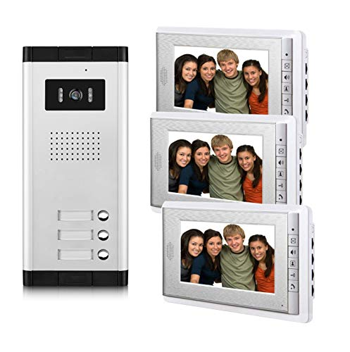 AMOCAM 3 Units Apartment Video Intercom System, Wired Video Door Phone Kit, 1 PCS Night Vision Camera, 3 PCS LCD 7 Inches Monitor, Support Monitoring, Unlock, Dual Way Intercom, for 3-Household ()