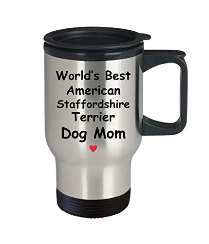 Gift For American Staffordshire Terrier Dog Mom - World's Best - Fun Novelty Gift Idea Coffee Tea Cup Funny Presents Birthday Christmas Anniversary Thank You Appreciation 14oz Travel Mug 2