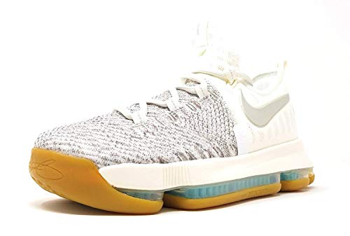 Nike Boys Zoom KD9 Big Kid Textured Basketball Shoes (7 M US Big Kid, Pale Grey/Ivory/Pale Grey)
