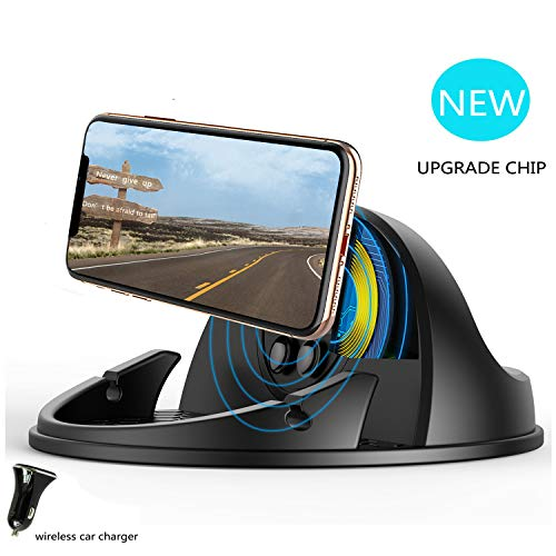Wireless Car Charger Mount,Qi-Certified Car Wireless Charging Stand Compatible with iPhone 11 pro/X/XS Max/XR/8/Samsung Galaxy S9 / S10/,Silicone Car Phone Holder Dashboard Desk(with Car Charger)