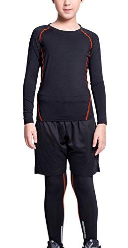 Boys Sports Compression Set Workout Leggings Tights Long Sleeve Quick Dry Shirt Basketball Base Layer Activewear Black Orange Size 7 ()