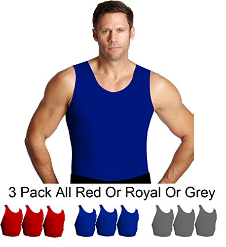 Insta Slim 3 Pack Muscle Tank, Look Up to 5 Inches Slimmer Instantly, Royal, Medium, The Magic is in The Fabric! by Insta Slim (Image #2)