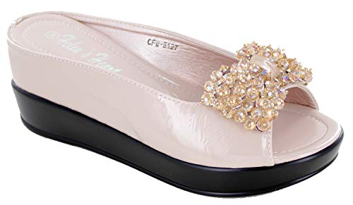 (Helens Heart CFW-8127-25 Bling Wedge Sandals with Hidden Heel (10, Cream) )