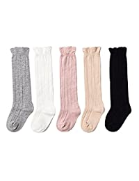 WENDYWU Baby Socks Uniform Knee High Socks Tube Ruffled Baby Girl Boy Stockings