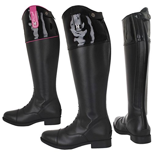 Black Equestrian Riding Top Boots Rhine Horka Stones Emy Adults Zip Back Horse Rubber 7vqqdHw