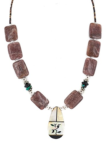 Authentic Made by Charlene Little Navajo Silver Inlay Natural Turquoise Mother of Pearl Black Onyx Agate Native American Necklace (Agate Turquoise Pendant)