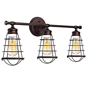 Zenghh 3 Light Bathroom Vanity Lamps European and American Style, Industrial Line Cage Wall Lamp Fireplace Antique Farmhouse Style Wall Lamp Bathroom Living Room Kitchen (Bronze)
