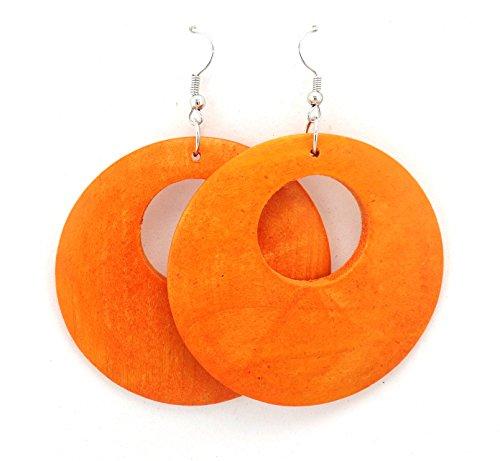 Wooden Earrings – Round Wood Earrings – Wood Earrings – Rasta Earrings-Wooden Handmade Earrings (Orange)