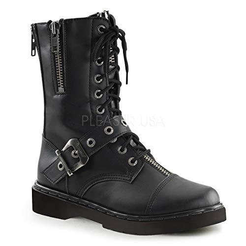 Demonia Unisex Defiant 206 Combat Boots, Black Vegan Leather, 4 M