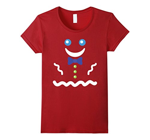 Simple Gingerbread Man Costume (Womens Gingerbread Man Holidays Costume T-shirt Large Cranberry)