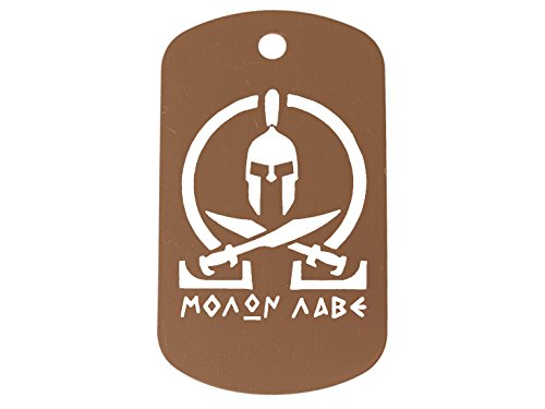 Brown Dog Tag Kit With 24'' Chain & Silencer Molon Labe Omega Crossed Swords (Pendant Tag Sword Dog)