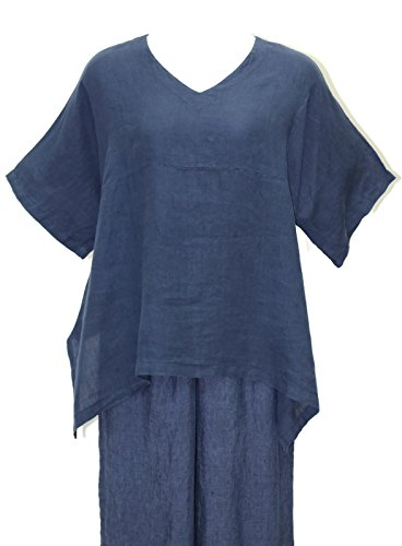 "Match Point Women's Deep Indigo Linen Kimono Tunic S - 2X Oversized (1X (Bust 60""), Deep Indigo)"